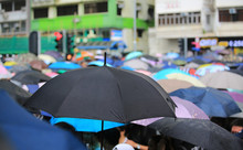 Bad Weather With The Crowd Umbrella In July 7 Protest In Hong Kong