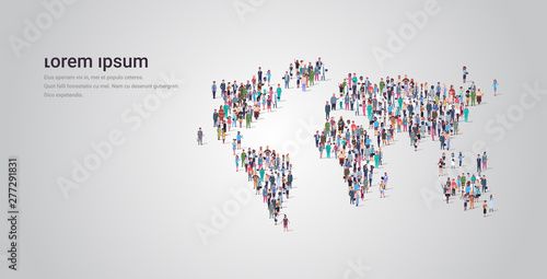 Obraz people crowd gathering in world map icon shape social media community travel concept different occupation employees group standing together full length horizontal copy space - fototapety do salonu