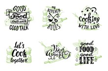Cuisine Quotes Hand Drawn Lettering, Vector Illustration