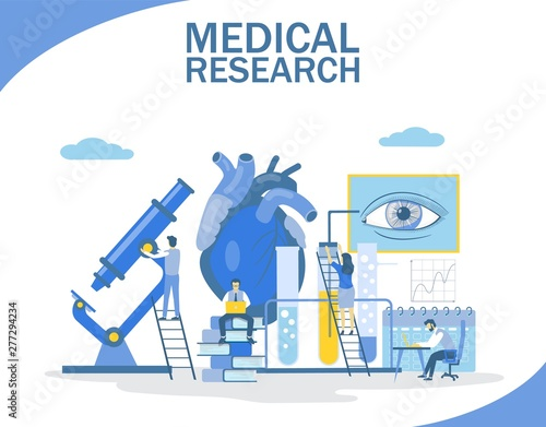 Stampa su Tela Medical research, vector flat style design illustration