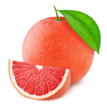 Whole Pink Grapefruit With Slice Isolated On White Background.