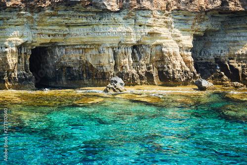 Printed kitchen splashbacks Light blue Sea caves littoral caves near Ayia Napa, Mediterranean sea coast, Cyprus.