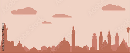 Prague silhouette, vector skyline illustration, clouds, bridge, collage icon, city panorama river
