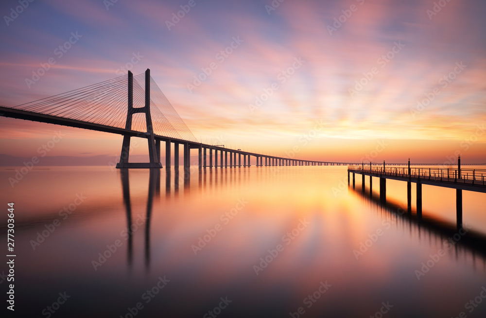 Fototapety, obrazy: Lisbon bridge - Vasco da Gama at sunrise, Portugal
