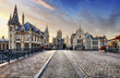 canvas print picture - Ghent town, Belgium