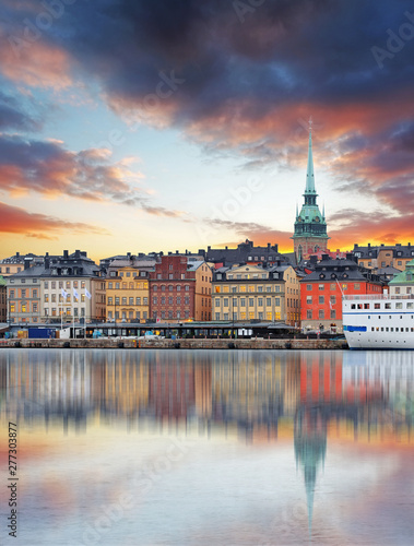 Stockholm, Sweden - panorama of the Old Town, Gamla Stan Canvas Print