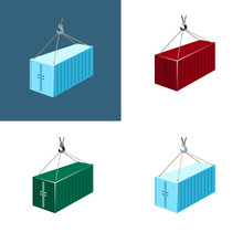 Colorful Container With Crane Isolated On White And Blue, Set Of Images With Container Hanging On Crane Hook, Vector Illustration