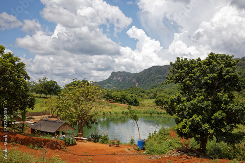 Photo Vinales, Cuba - July 28, 2018: Vinales Valley National Park with tobacco farms,