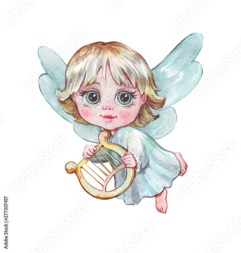 little angel with a harp flying Wallpaper Mural