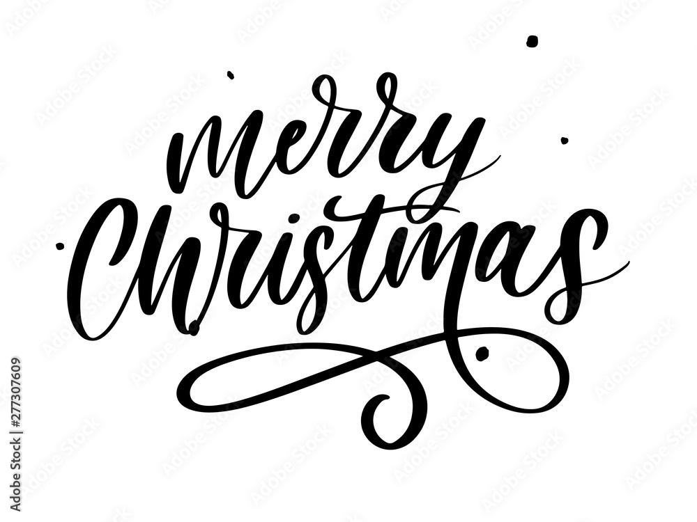 Fototapeta Merry Christmas Calligraphic Inscription Decorated lettering text