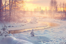 Small River In Winter, With Su...