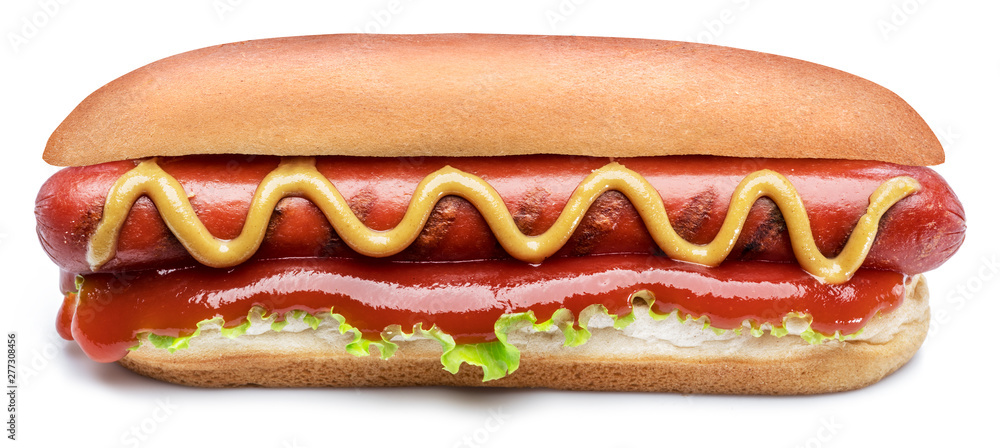Fototapety, obrazy: Hot dog - grilled sausage in a bun with sauces isolated on white background.