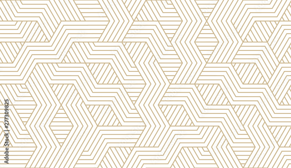 Fototapeta Abstract simple geometric vector seamless pattern with gold line texture on white background. Light modern simple wallpaper, bright tile backdrop, monochrome graphic element
