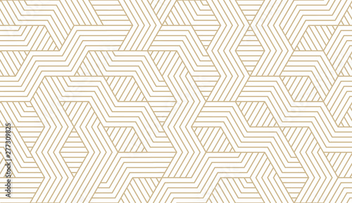 Poster Kunstmatig Abstract simple geometric vector seamless pattern with gold line texture on white background. Light modern simple wallpaper, bright tile backdrop, monochrome graphic element