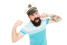 Lord Of The Seas. Captain Cruise Liner. Brutal Seaman Isolated On White. Captain Concept. Bearded Man Captain Of Ship. Sea Cruise. Travel Concept. Summer Vacation. Hipster Beard Mustache Sailor Hat