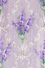 Damask ornament and lavender Vector pattern. Delicate floral decor watercolor...