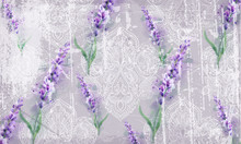 Damask Ornament And Lavender Vector Pattern. Delicate Floral Decor Watercolor. Spring Summer Texture Banner Templates
