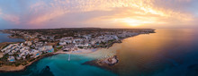 Aerial Drone Shot Of Protaras City At Sunset