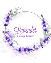 Lavender Watercolor Wreath Vector. Delicate Floral Bouquet Frame. Spring Summer Banner Templates