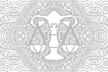 Coloring Book Page With Libra On Linear Pattern