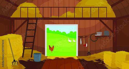 Fotografija Vector illustration of  Inside Old wooden barn with haystacks