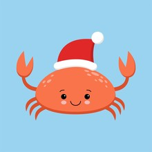 Crab Cartoon Character. A Cute Crab Wearing Santa Claus Hat Standing For Merry Christmas And Happy New Year Invitation Card.