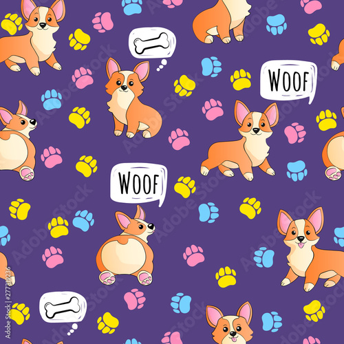 obraz lub plakat Corgi with paws and speech bubble funny hand draw cartoons seamless pattern. Dogs kids doodle repeater backgrounds for textile, postcard, wallpaper, gift wrapp