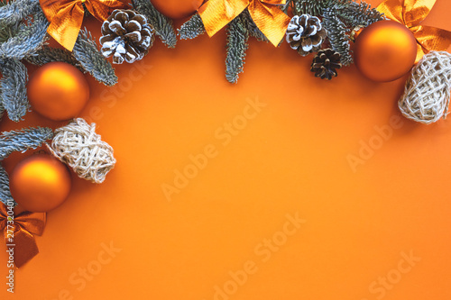 Obraz Christmas composition.  Background  orange colors with decorations.  - fototapety do salonu