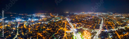 Beauty illuminated at night, a panoramic aerial view to streets in Varna, Bulgaria. Top view - 277320412