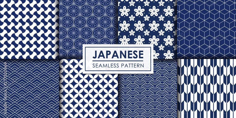 Fototapeta Japanese seamless pattern collection, Decorative wallpaper.