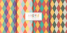 Argyle Seamless Pattern Set, Decorative Wallpaper.