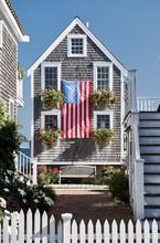 United States Flag At Suburban...