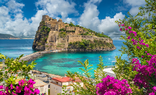 Cadres-photo bureau Con. Antique Landscape with Aragonese Castle, Ischia island, Italy