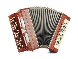 Brown accordion isolated on white background. File contains a path to isolation