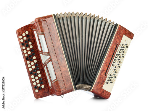 Fotografía Brown accordion isolated on white background