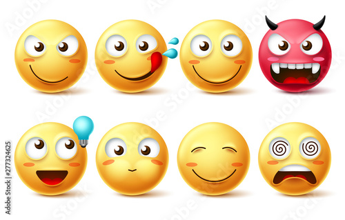 Fotografie, Obraz  Smileys icon vector set