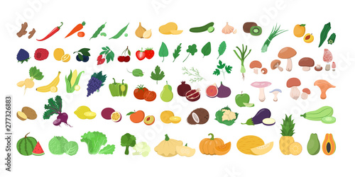Poster Cuisine Set of fresh tasty fruits and vegetables. Delicious apple