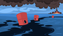 Water Pollution Concept. Oil S...