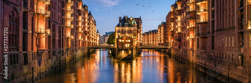 Speicherstadt panorama in Hamburg, Germany