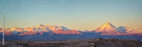 Andes mountain range at sunset, view from Moon Valley in Atacama desert, Chile Wallpaper Mural
