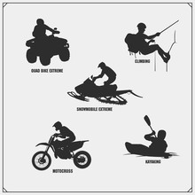 Extreme Sport Emblems. Quad Bi...
