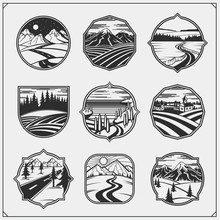 Collection Engraving Landscapes. Rural, Montain, Night Landscape, Fields, Meadows And Village.