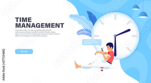 Time Management Banner With Character Guy Stopped Time For Rest Chatting On Social Networks And Drinking Coffee More Time Concept Modern Landing Page Design Buy This Stock Vector And Explore Similar