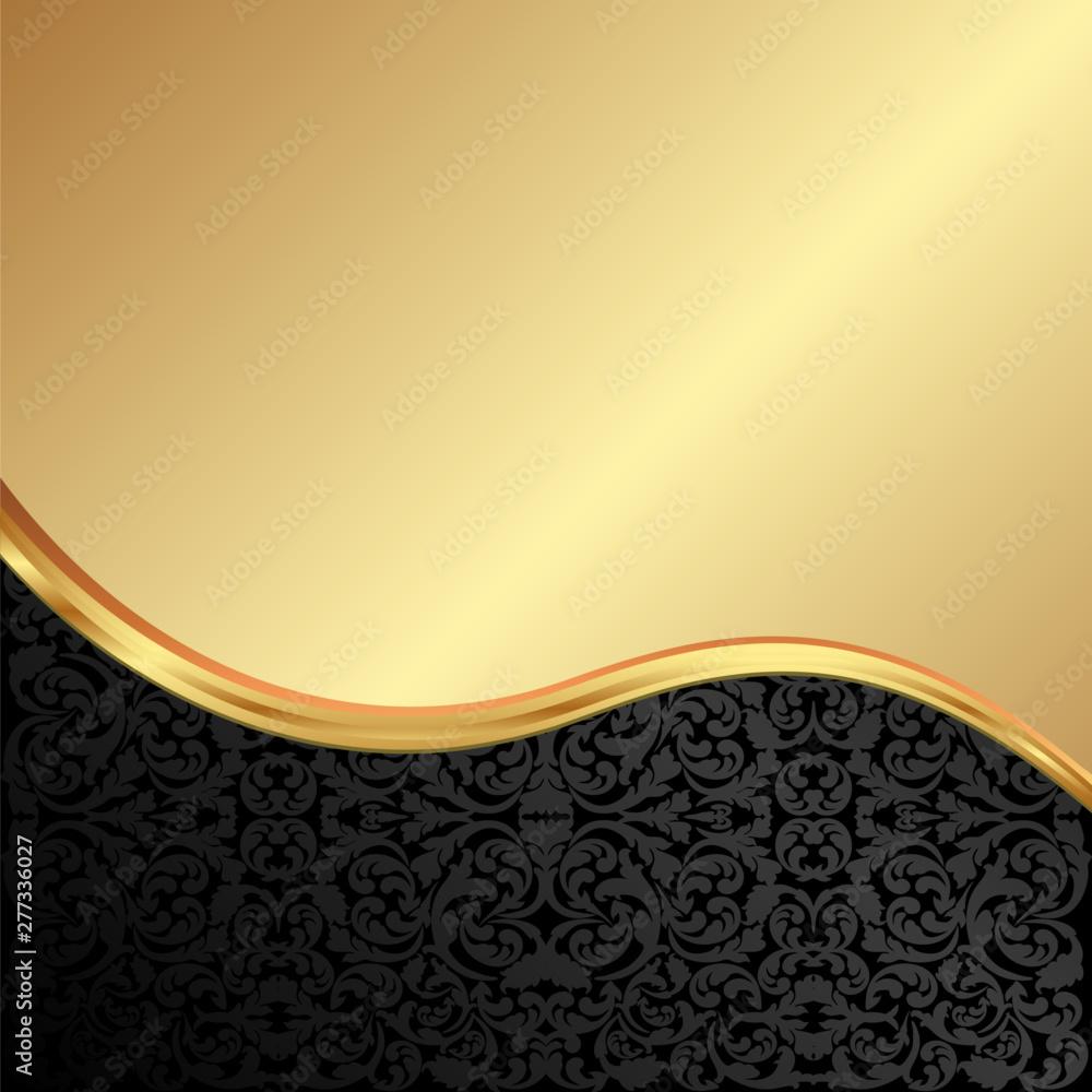 Fototapeta golden background with old-fashined pattern