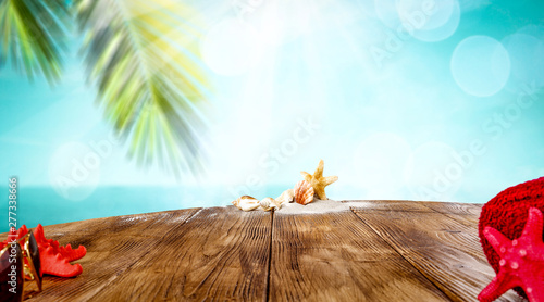 Foto auf AluDibond Licht blau Table background of free space for your decoration and summer beach