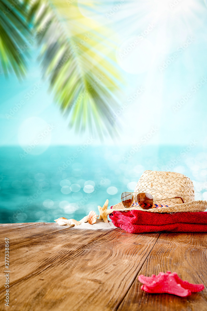 Fototapety, obrazy: Table background of free space for your decoration and summer beach