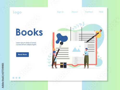 Books vector website landing page design template Canvas Print