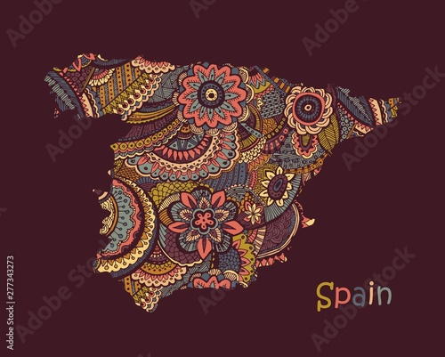 Fotomural Textured vector map of Spain. Hand drawn ethno pattern
