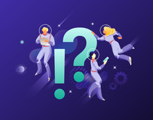 Astronauts With Exclamation And Question Marks