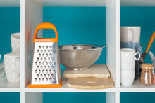 Utensils And Mugs, Kitchenware On Wooden Shelves